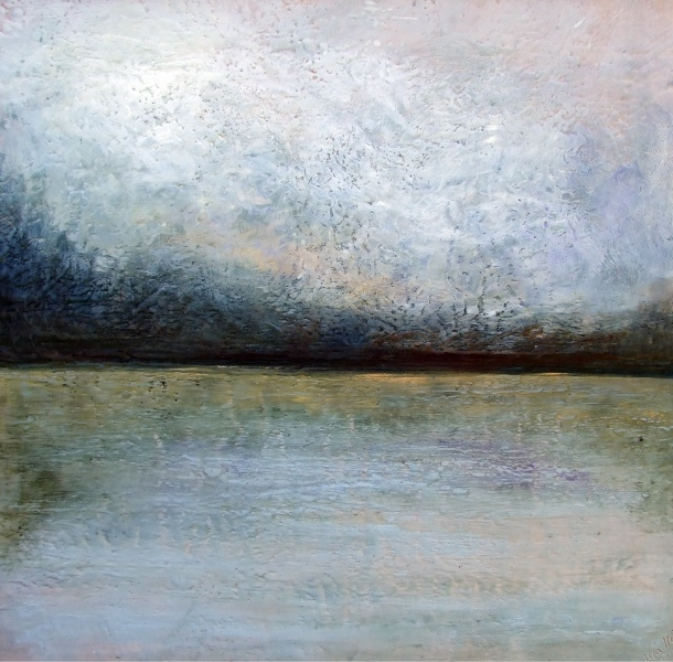 Encaustic painting by Susan Wallis, lake, landscape, nature, Prince Edward County