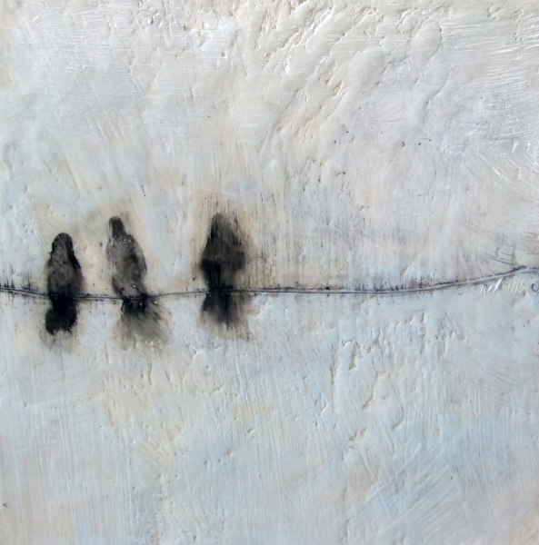 BIRDS ON A WIRE encaustic painting by Susan Wallis