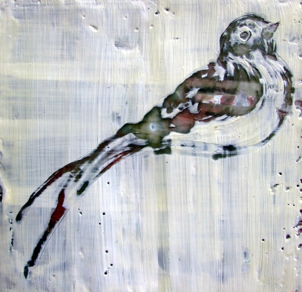 encaustic bird painting