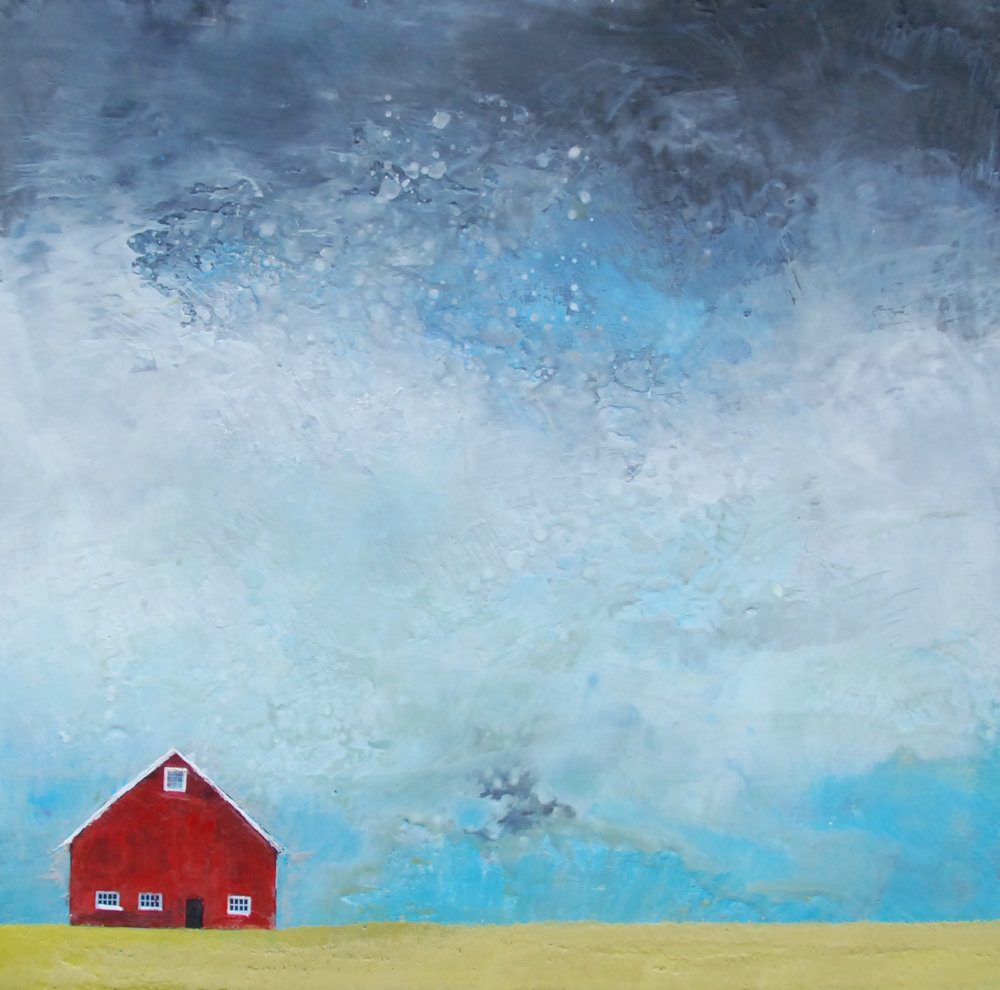 "the old red barn 24""x24""    (Raw Canvas Edge)"