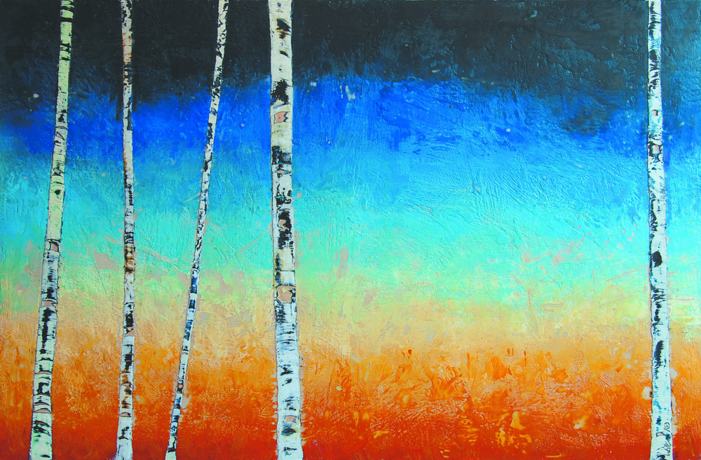 Autumn Dusk 72x48 encaustic art