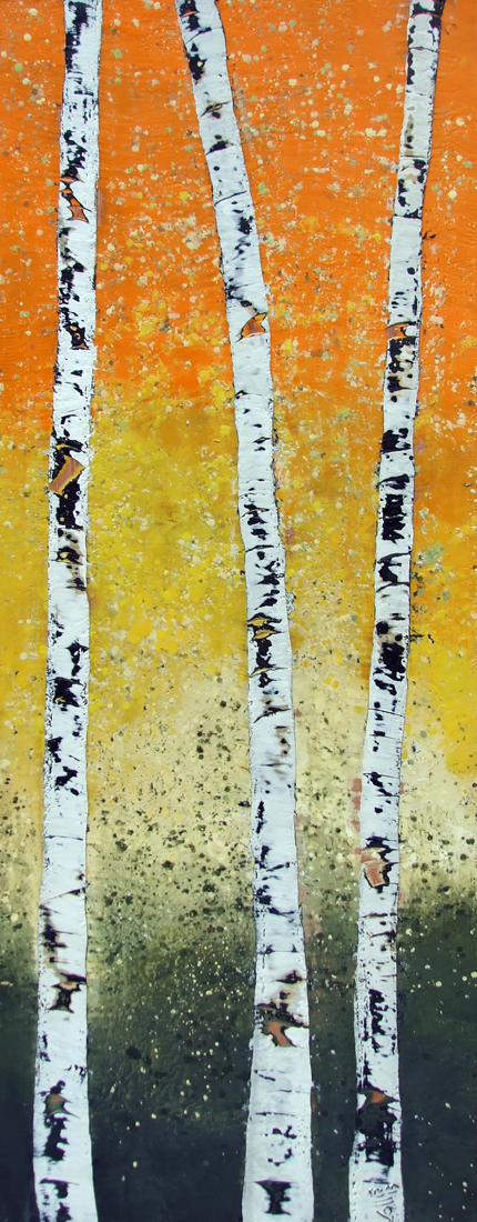 Autumn's Announcement 24x60 2013 encaustic art susan wallis