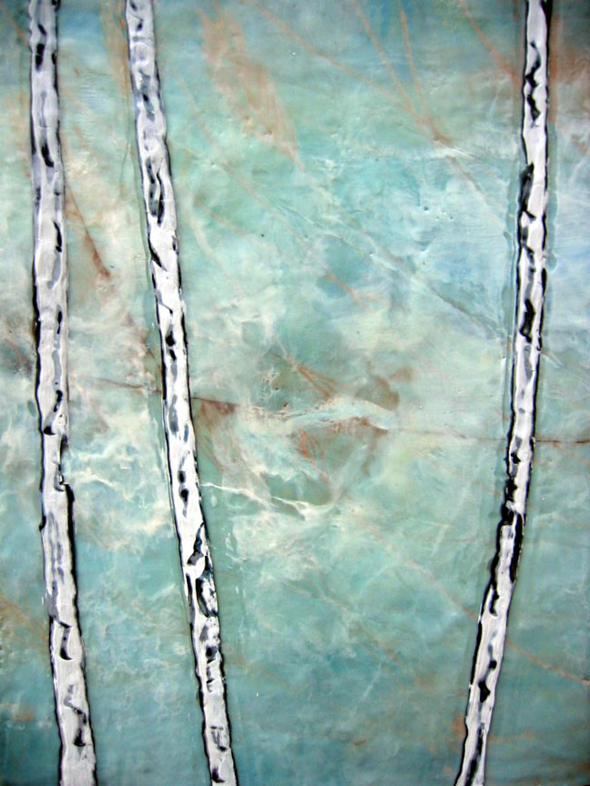 Ice Birches encaustic art susan wallis