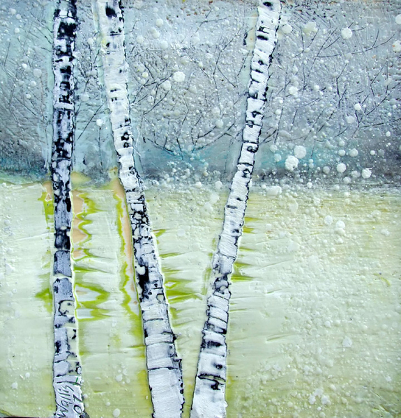 The First Snowfall 14x14 2007 Encaustic art susan wallis