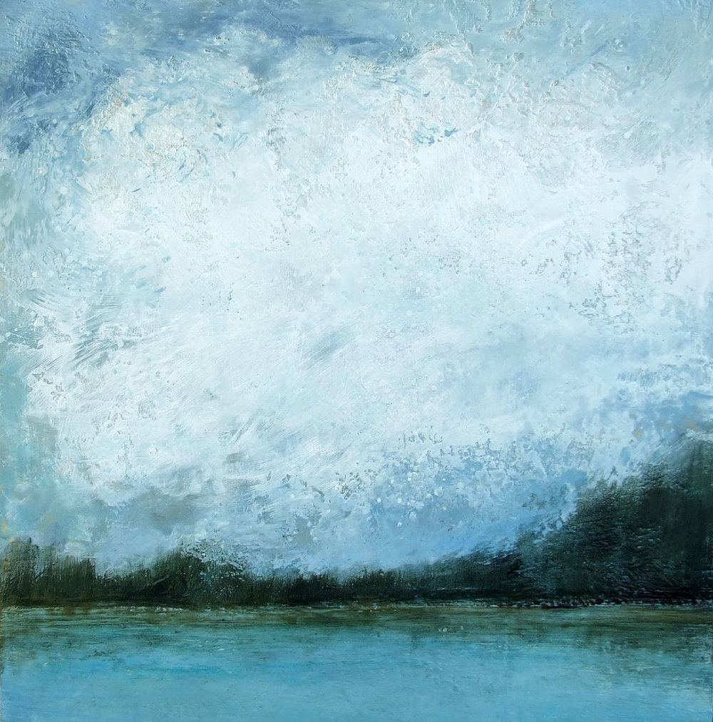 Big Skies 46x46 encaustic wax painting