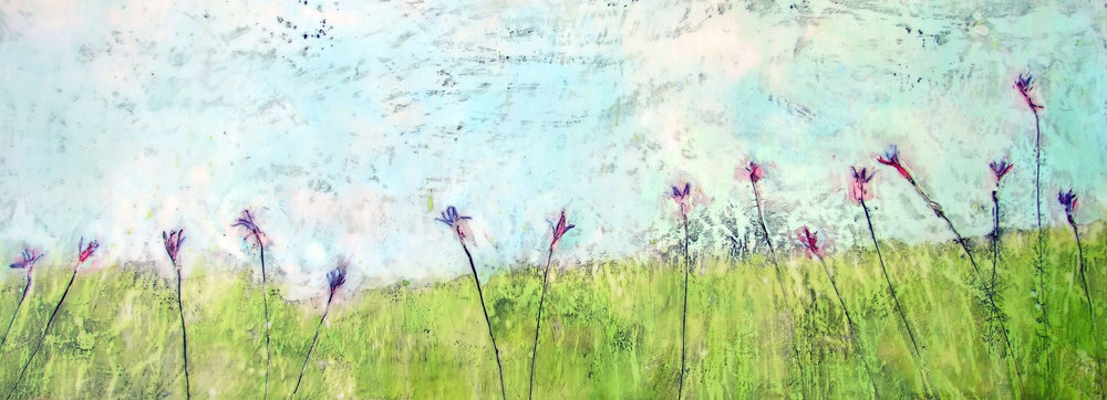Springing to Life 48x18 encaustic art by susan wallis