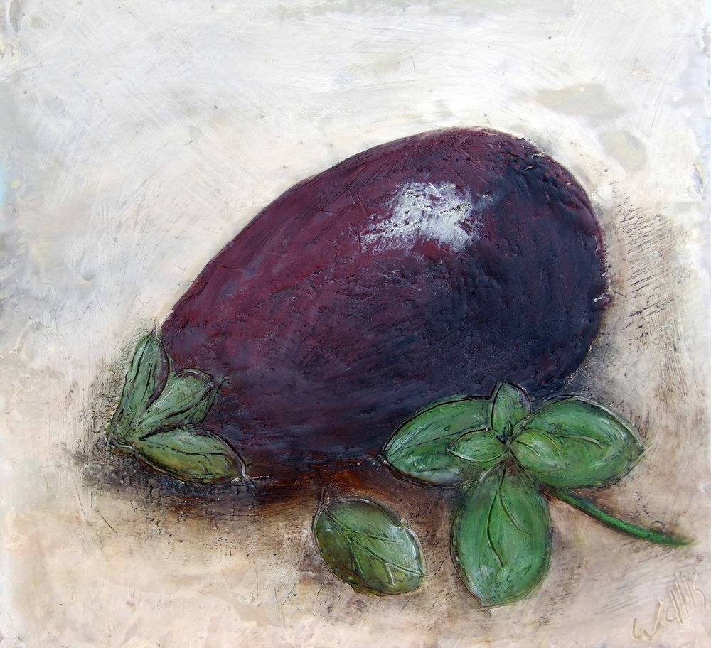 Eggplant and Basil 12x12 2011 encaustic art susan wallis