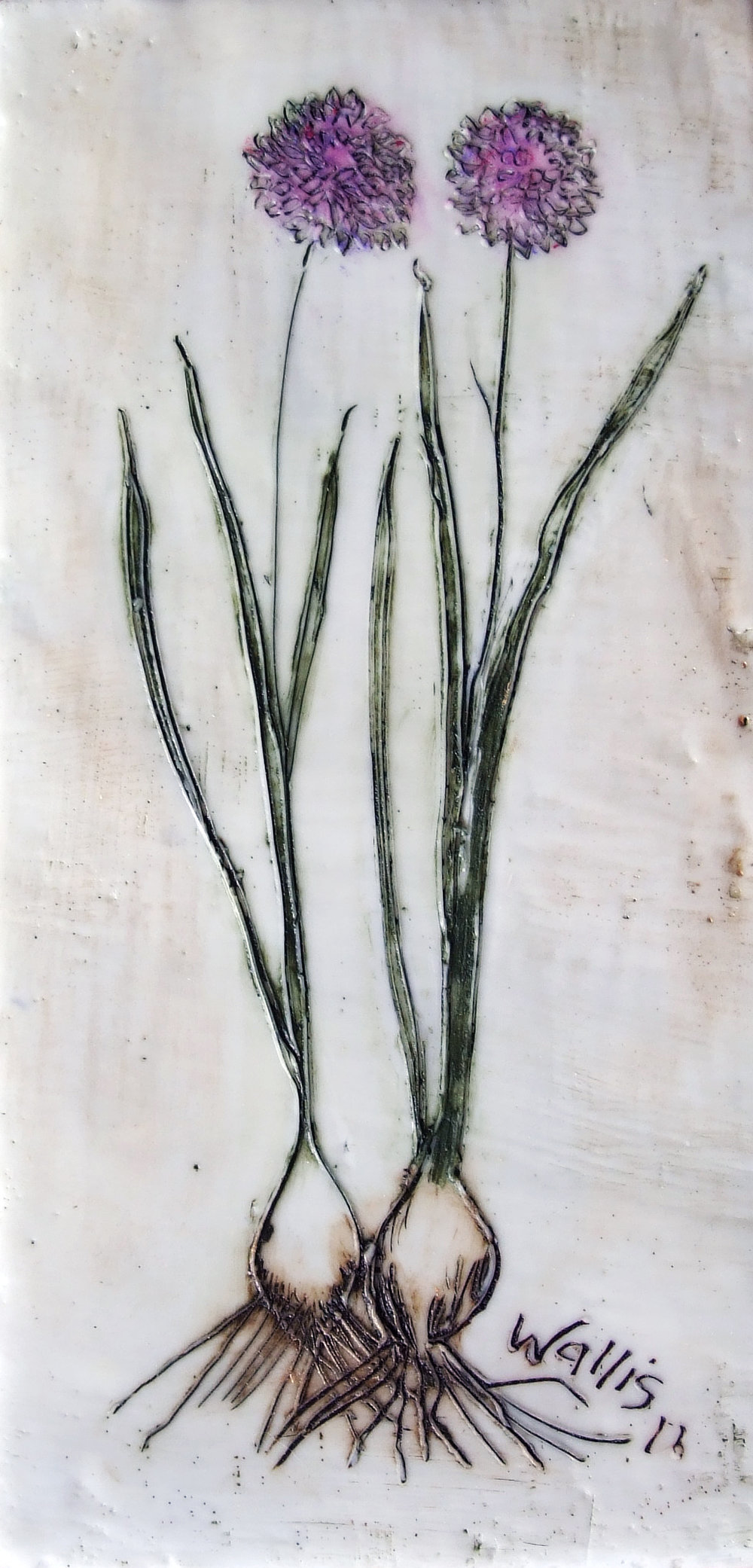 Wild Chives encaustic art