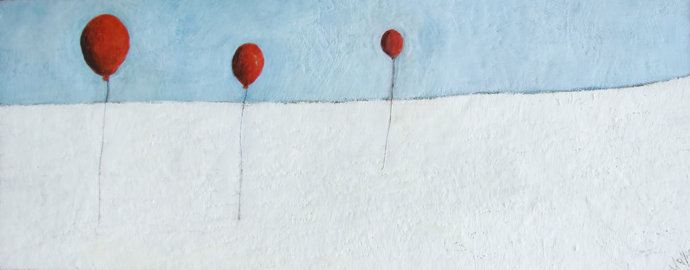Floating Apart 60x24 encaustic wax art by susan wallis