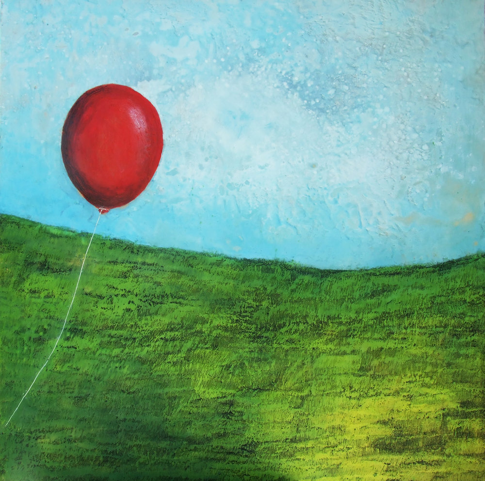 The Drifter 42x42 encaustic art