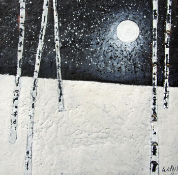 Moon Glow 23x23 susan wallis encaustic art