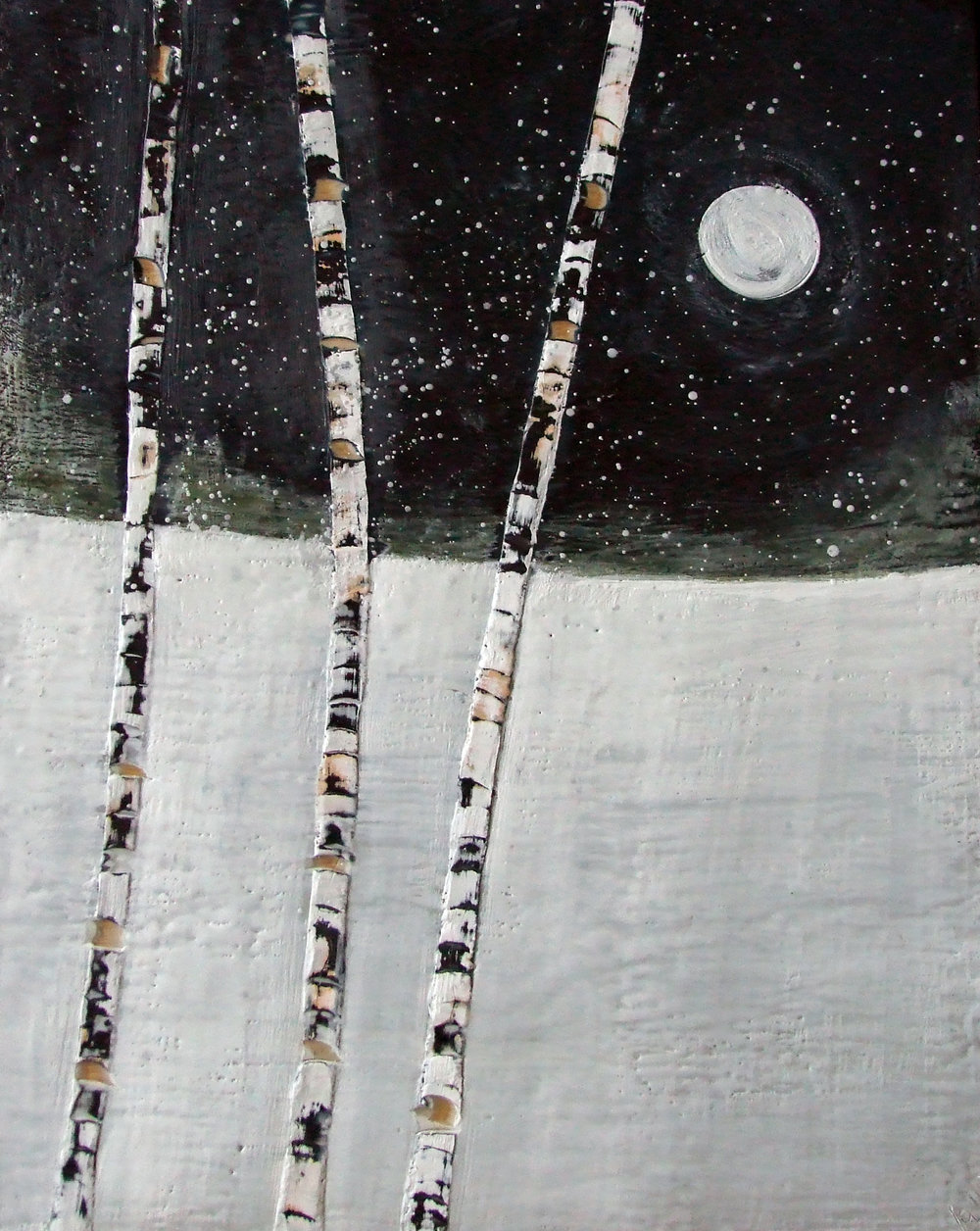 Midnight Moon 2011 encaustic art susan wallis