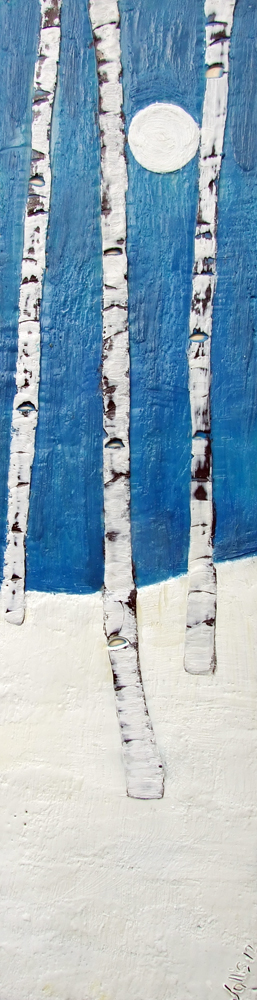 Blue Moonlight 6x24 encaustic art susan wallis