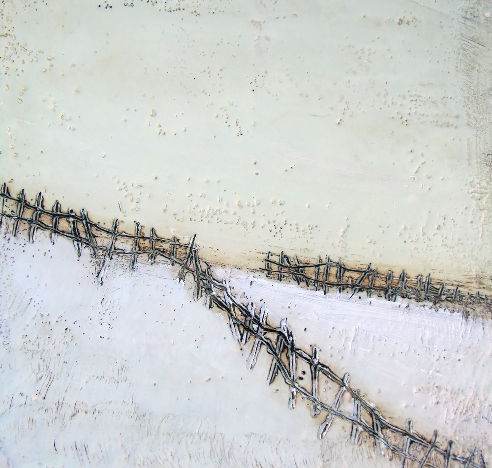 Lines in the Snow I 10x10  encaustic art susan wallis
