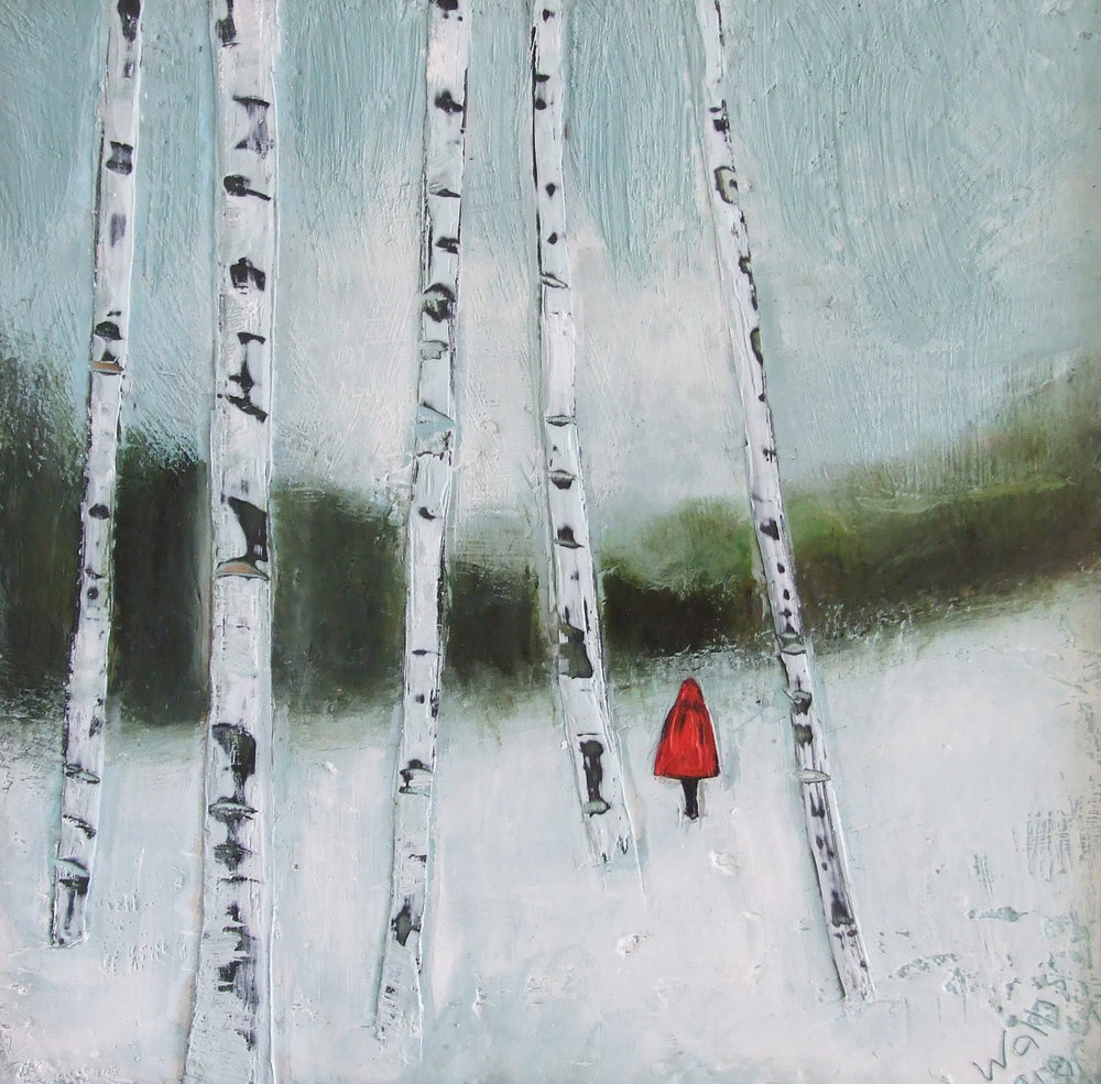 "a long winter's walk 12""x12""  SOLD"