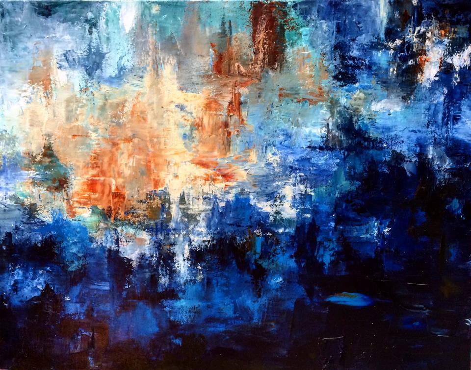 "Blue Forest City | Acrylic | 30"" x 40"""