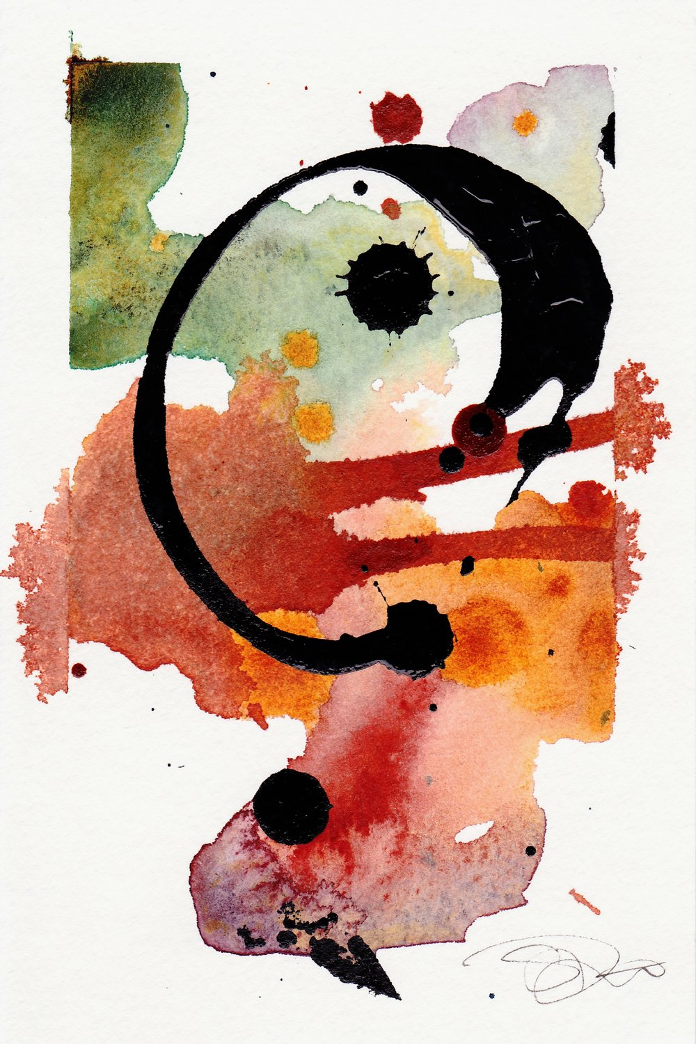 "Symbol 5. | Watercolor, Acrylic on Paper | 4"" x 6"""