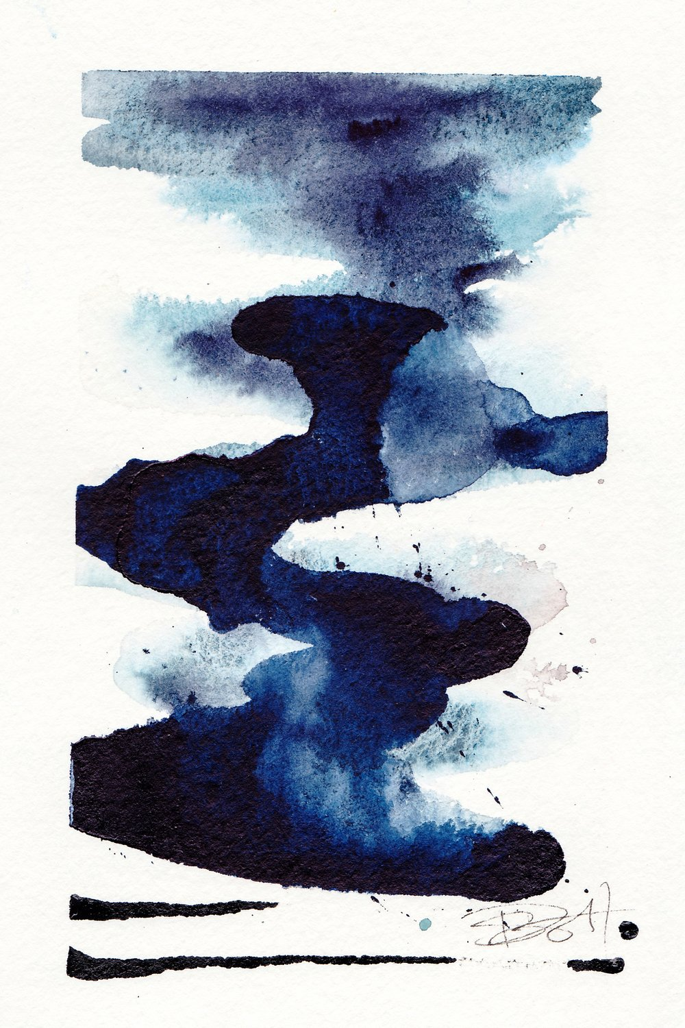 "Smoke Signals | Watercolor, Acrylic on Paper | 4"" x 6"""