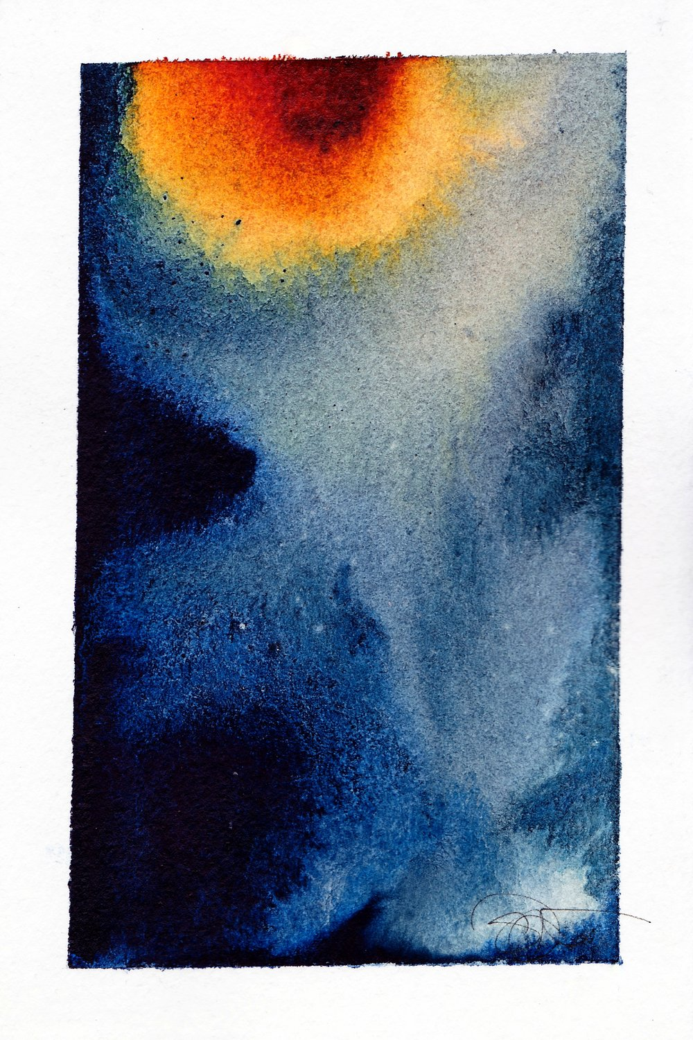"Blood Moon Eclipse | Watercolor, Acrylic on Paper | 4"" x 6"""