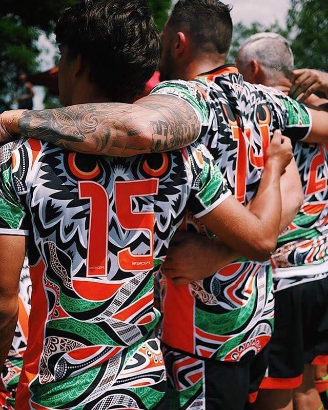 Unleash your Story  ___  Nyarla Pride 👊🏾 ___  Nyarla is the name of Audrey Butlers mother's totem (the owl - Gooreng Gooreng), her father's totem (the carpet snake - Gangulu) which is displayed through the art work done by her grandson Brandon Butler on these incredibly detailed jerseys.  Nyarla watches over us while the carpet snake guides the way.  The artwork inside the snake displays the coming together of family near and far & representing as one.  Nyarla Pride Rugby League team consists of 11 of Audrey's grandsons with the rest of the team made up of extended family and friends who come together as one, and wear her favourite colours with pride.  #UnleashInspiration