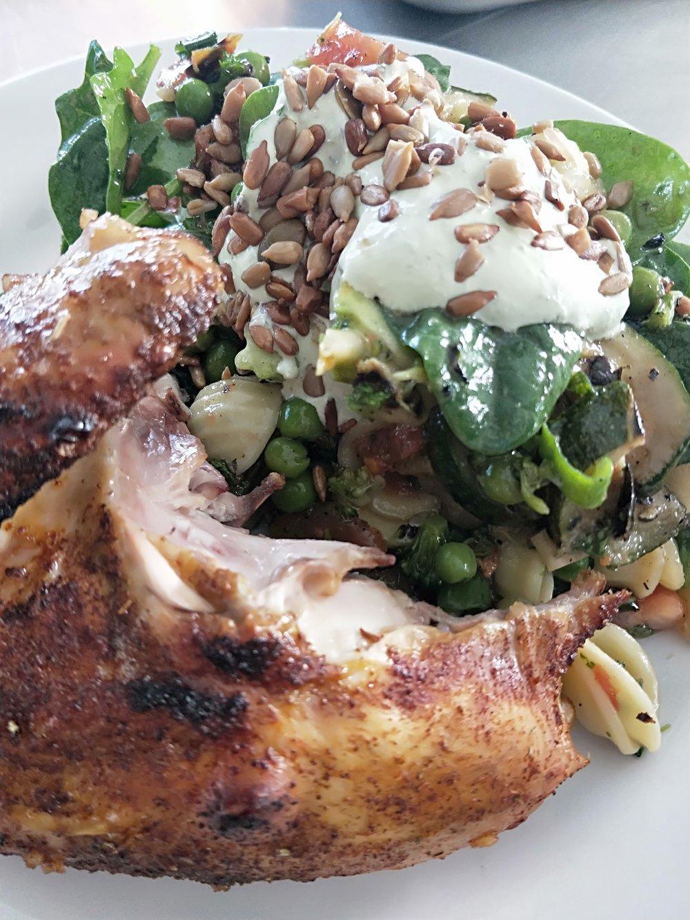 Quarter Chicken w/ Seasonal Leaf Salad