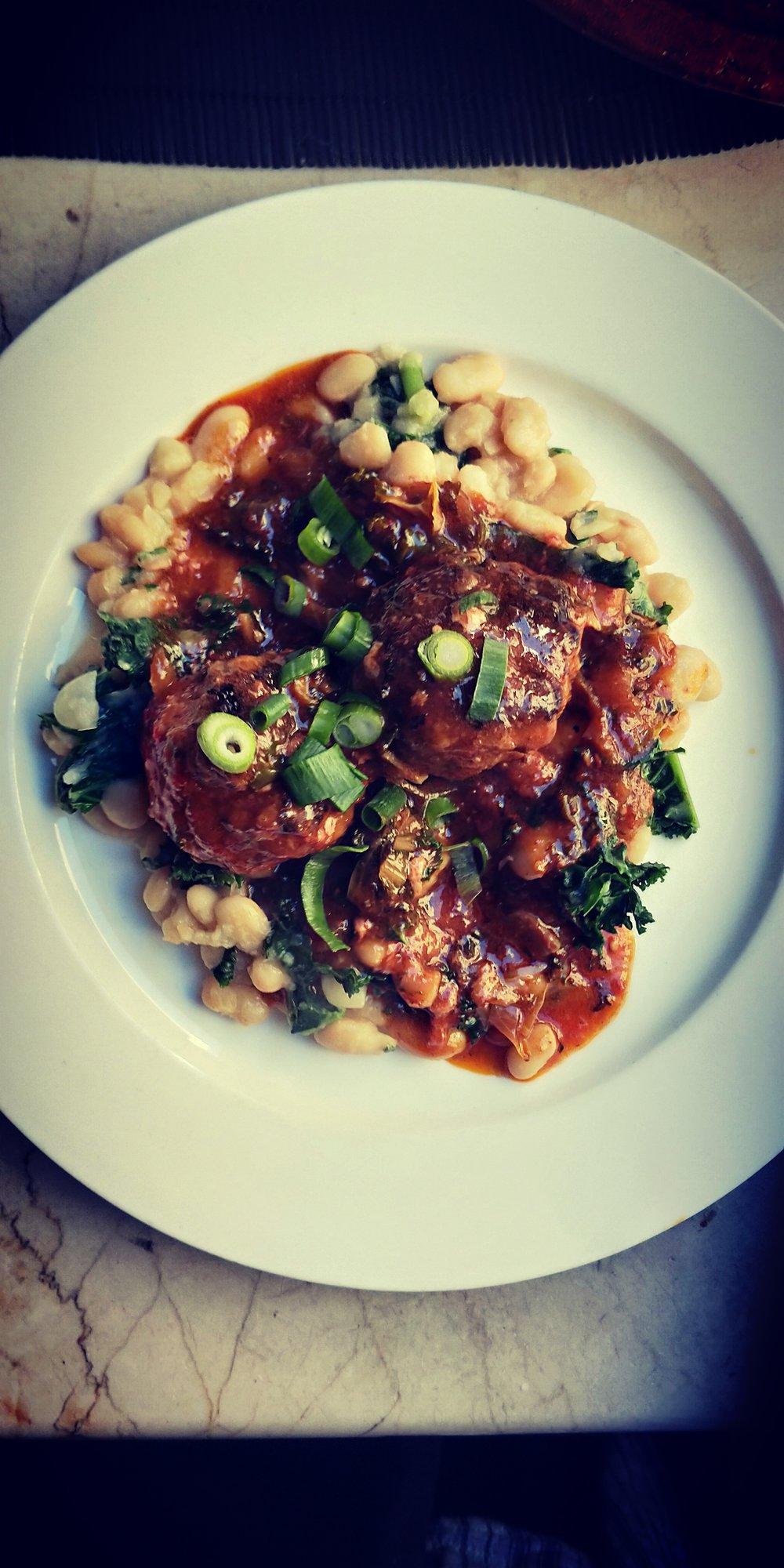 Meat Special Meatballs w/ White Beans, Kale and Smokey Tomato