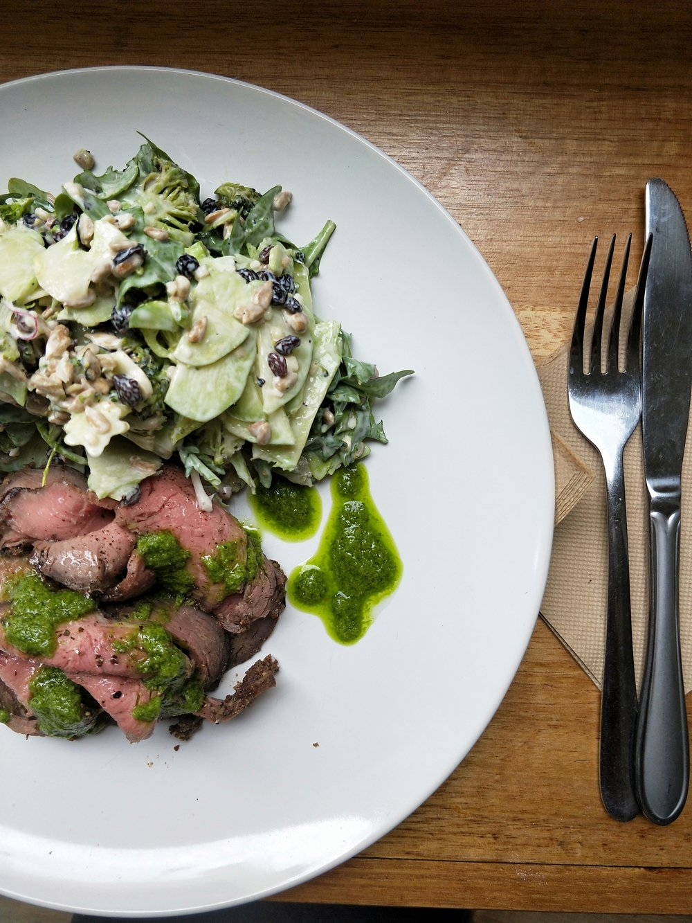 Meat Special Spit Roast Sirloin w/ Raw Broccoli and Horseradish