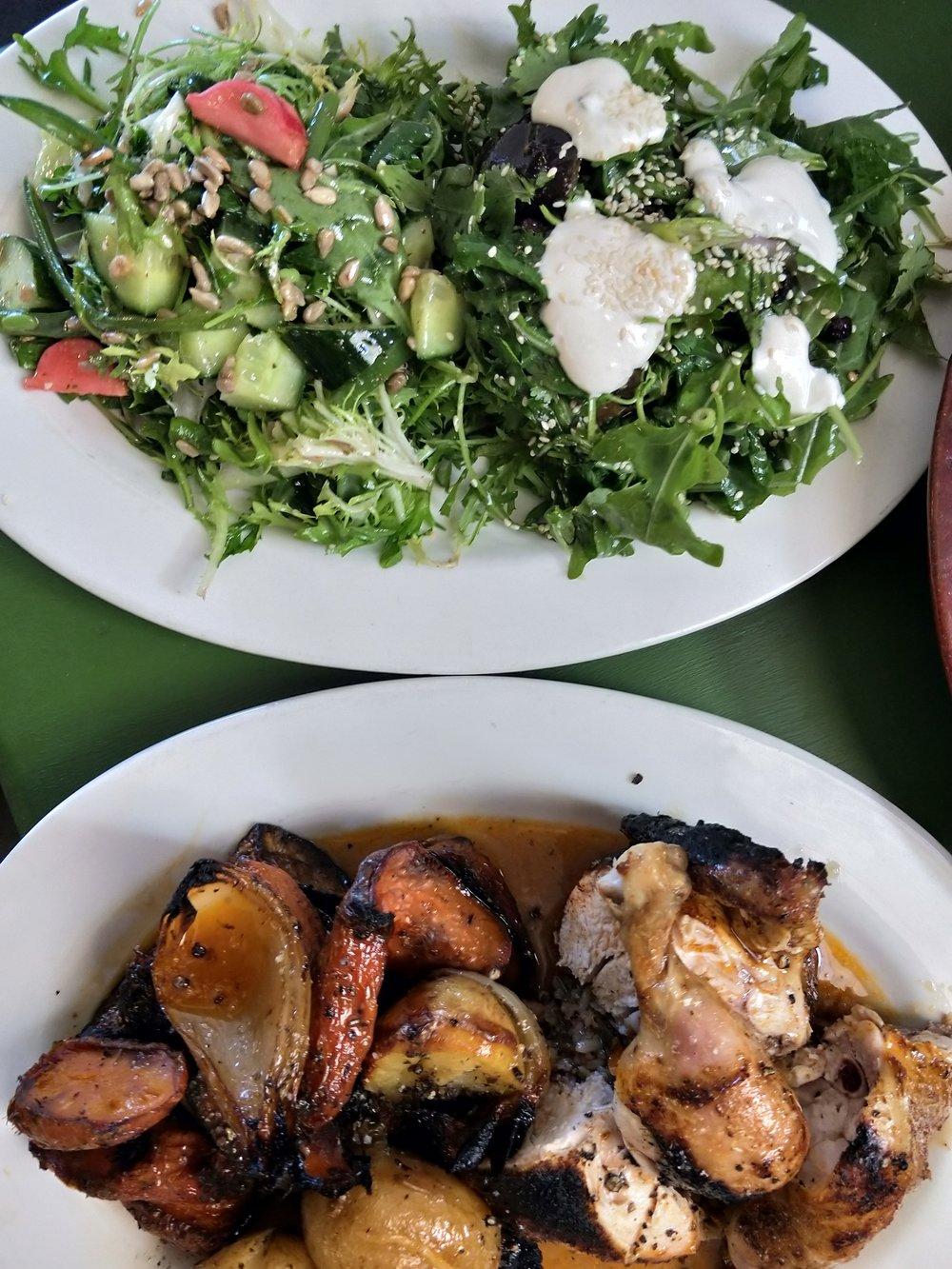 Rocket, Green Bean & Pickle Salad w/ Eggplant Salad, Roast Vegetables and Chicken