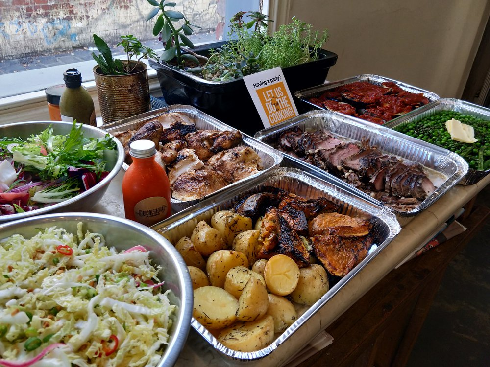 Chicken, Beef, Coal Roast Vegetables, Cabbage Salad, Leaf Salad, Eggplant w/ Oven Roast Tomatoes and Fresh Garden Peas - Catering for a Group of 12