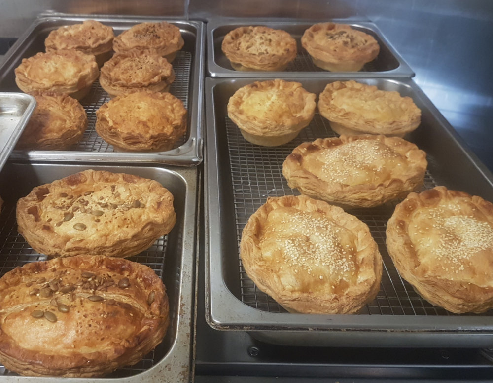 Pies, Pies Pies! Rotisserie Chicken & Leek, Potato, Onion and Cheese, Corned Beef and Bacon, Beef and Mushroom