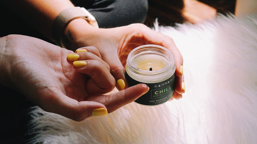 CBD Massage Candles - CBD is known to help with pain & inflammation. Light them up and then use the melted CBD oil on top to massage away.     SHOP CBD  >>
