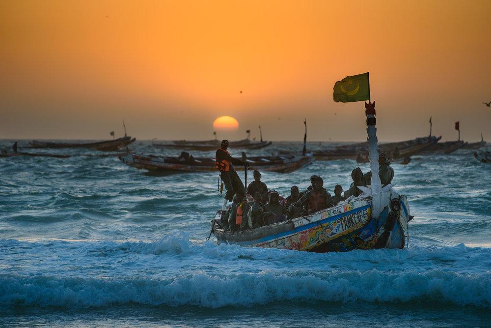El mercado de pescado - Justo en el borde del desierto del Sahara, y a orillas del áspero océano Atlántico se encuentra el mercado de pescado de Nouakchott, un centro vibrante y colorido para los pescadores procedentes de todo el oeste de África, los comerciantes locales de habla árabe y miles de clientes. Todos ellos llegan listos para comerciar con pescado.