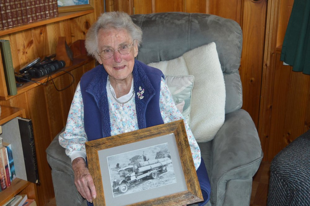 Olga Nichols recalls learning to drive her father's timber truck when she was just 13.