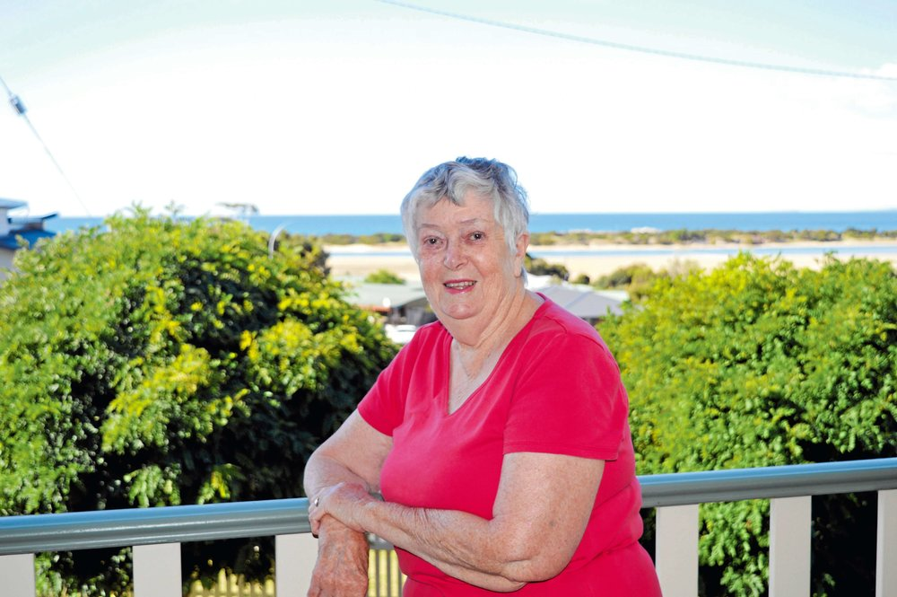 • Much-loved Bridport resident Mary Coote on the balcony of her Bridport home.