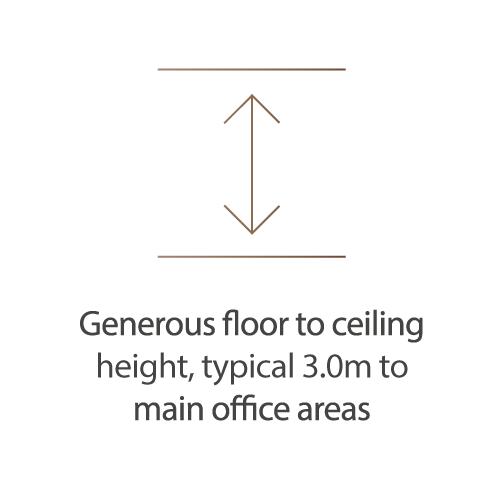 Generous floor to ceiling height, typical 3m to main office areas