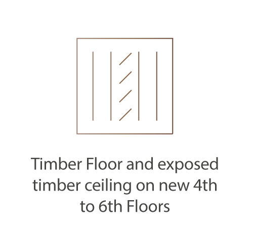 timber floor and exposed timber ceiling on new 4th to 6th Floors