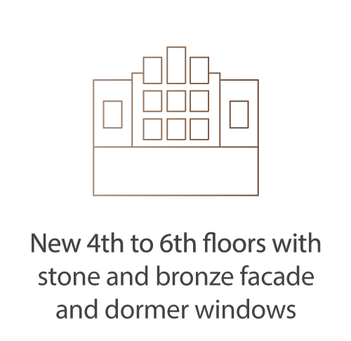 New 4th to 6th floors with stone and bronze facade and dormer windows