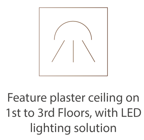 Feature plaster ceiling on 1st to 3rd Floors, with LED lighting solution