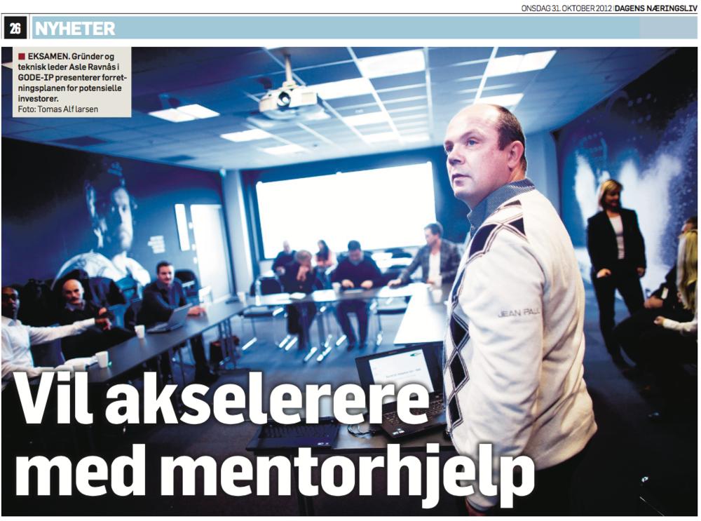 GOE-IP var deltaker på ACCEL Boring og Brønn i Stavanger i 2012. Skjermdump fra atrikkel i Dagens Næringsliv oktober 2012.