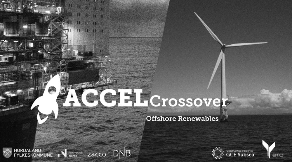 """ACCEL Crossover Offshore Renewables ACCEL Crossover er programmet for innovative industriselskaper innen olje- og gassnæringen som ønsker å tilby nye løsninger mot """"offshore renewables"""". Få mer informasjon →"""