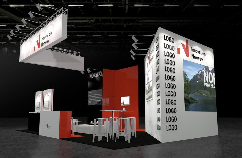 "This is an example of a typical Innovation Norway joint stand. This is just a mockup and it will be adjusted. The final version will be more ""Next Energy"" branded."