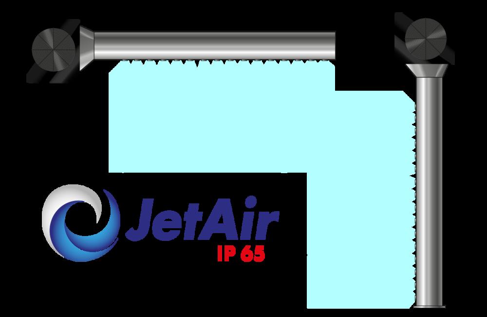 JetAir IP65 voidaan asentaa joko pysty- tai vaakatasoon.