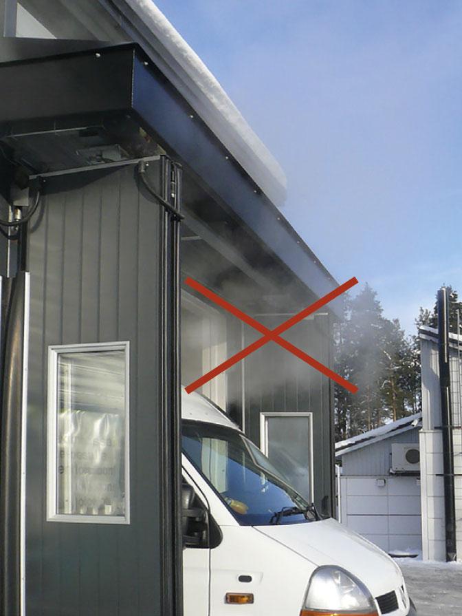 JetAir IP65 estää kuvassa tapahtuvan lämpimän / kostean ilman ja höyryn ulostulon, jolloin jäätä ei pääse kertymään ovimekanismeihin.