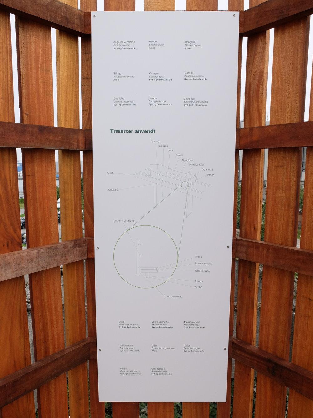 De forskellige træarter, der er anvendt i projektet.
