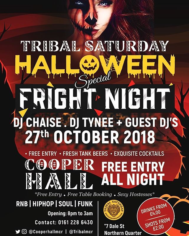 Next Saturday! The biggest halloween party in Northern Quarter! The deals are unbeatable so let's meet up at Cooper Hall! Book tables and receive a free bottle of prosecco! #tribalsaturday #mokoprojectnq #manchester #northernquarter #nohomcr #cooperhallmcr #dusktilpawnnq #woodandcobar #cocktails #beers #deals