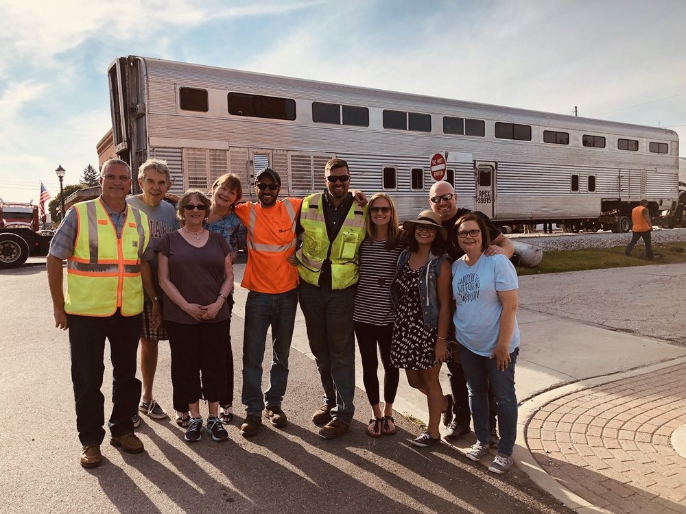 The Nickel Plate Express team celebrates the arrival of the Santa Fe car on August 30, 2018.