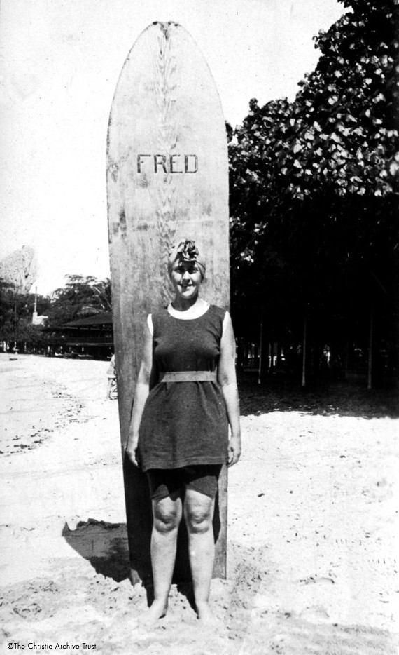 Agatha with her Hawaiin surfboard called Fred. The Christie Archive_2.jpg