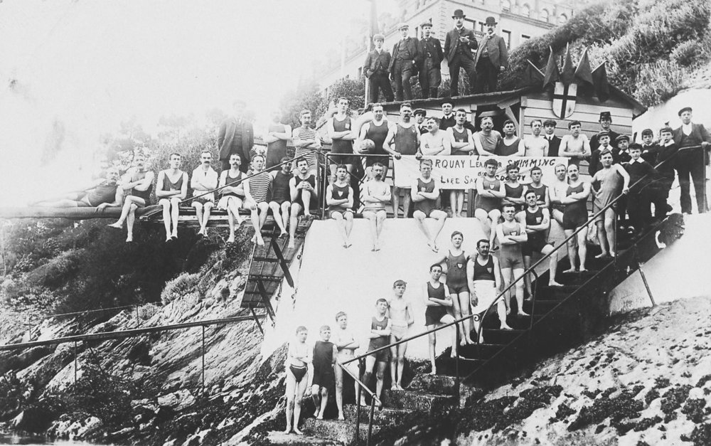 Leander Swimming Club at Peaked Tor Cove. Image from Totnes Image Bank..jpg