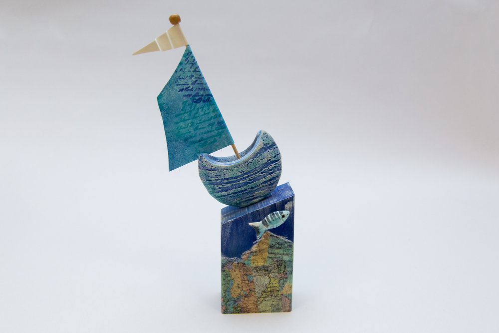 Gail Trezise Ceramics - Sail boat on wood - £35Buy at Gail's Cockington Court studio and by email harbours56@gmail.com