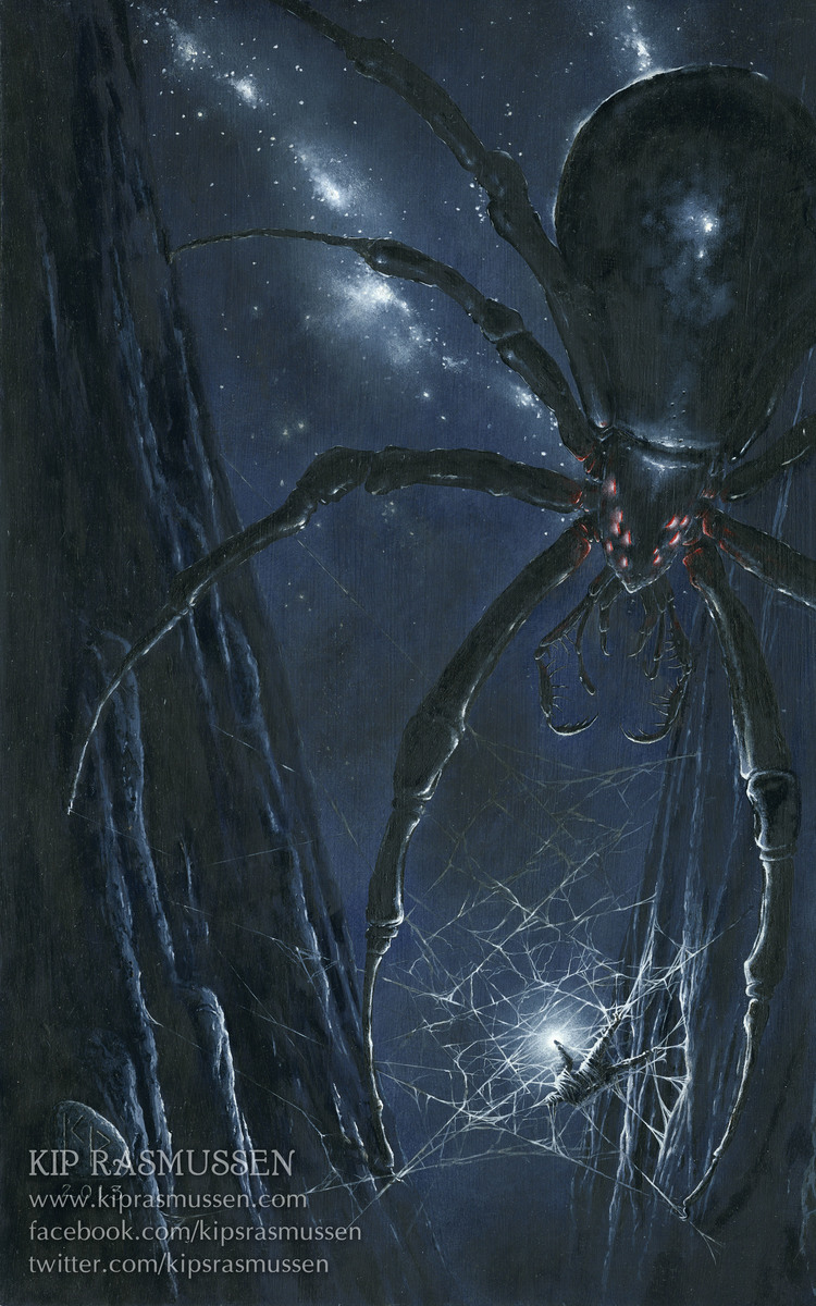 Ungoliant (ancient ancestor of Shelob) traps Melkor, and demands that he feed her the silmarils–the stolen jewels that contain the last light of Valinor. Illustration by  Kip Rasmussen .